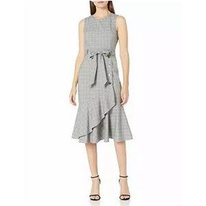 Calvin Klein sheath plaid ruffle dress NWT